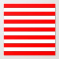 stripes Canvas Prints featuring Horizontal Stripes (Red/White) by 10813 Apparel