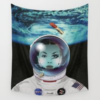 pilot Wall Tapestries featuring Miss Space Pilot by SEVENTRAPS
