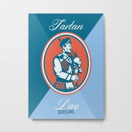 Tartan Day Scotland Bagpiper Greeting Card Metal Print