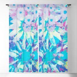 far out! floral tie dye Blackout Curtain