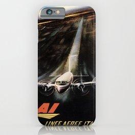 retro poster lai linee aeree italiane avion iPhone Case