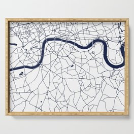 London White on Navy Street Map Serving Tray