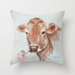 Cow with Rose by Debi Coules Throw Pillow