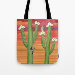gila woodpeckers on saguaro cactus Tote Bag
