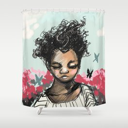 Girl with Butterfles Shower Curtain