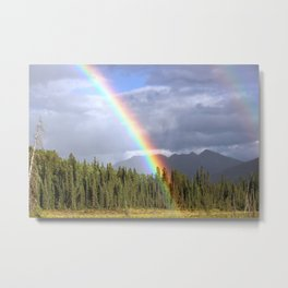 Gorgeous rainbow at beautiful cloudy summer day Metal Print
