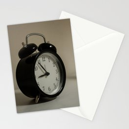 Old table clock about to take nine in the morning Stationery Cards