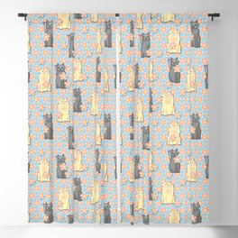Lucky Cats with Cherry Blossoms Blackout Curtain