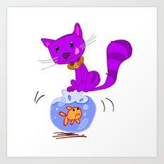 Cat on Lunch Art Print