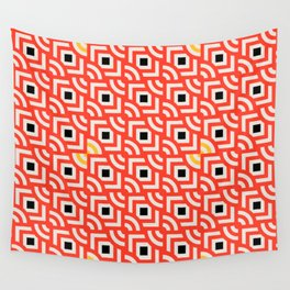 Round Pegs Square Pegs Red-Orange Wall Tapestry