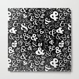 Ampersands - Black & White Metal Print