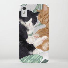 Cat Cuddles Illustration - Plant Love iPhone Case