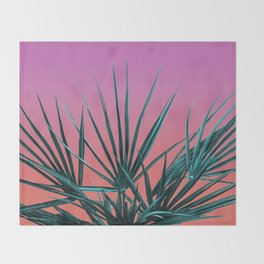 Pink Palm Life - Miami Vaporwave Throw Blanket