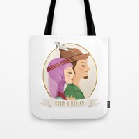robin hood Tote Bags featuring Robin Hood and Maid Marian by Chris Chatterton