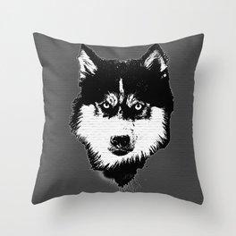 husky dog face grafiti spray art Throw Pillow