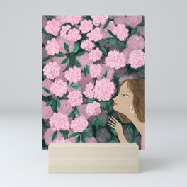 Woman and flowers Mini Art Print