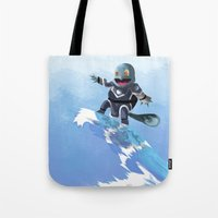 squirtle Tote Bags featuring WATERBENDING SQUIRTLE by DROIDMONKEY