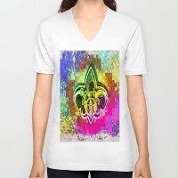 fleur de lis V-neck T-shirts featuring Fleur De Lis New Orleans  by Tina Vaughn