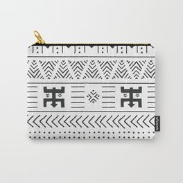 Black and white tribal ethnic pattern with geometric elements, traditional African mud cloth, tribal Carry-All Pouch