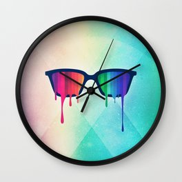Love Wins! Rainbow - Spectrum (Pride) / Hipster Nerd Glasses Wall Clock
