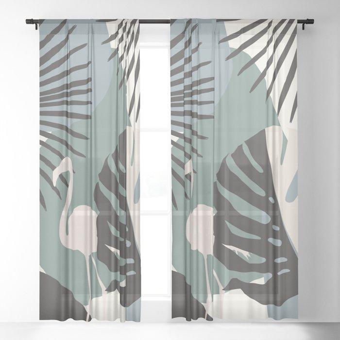 Minimal Flamingo Monstera Fan Palm Finesse #1 #tropical #decor #art #society6 Sheer Curtain