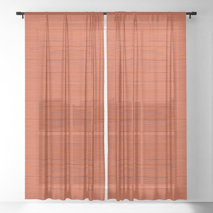 Meteor Stripes - Rust Orange Sheer Curtain
