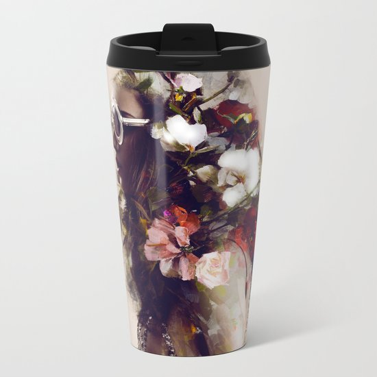 The girl with the flowers in her hair Metal Travel Mug