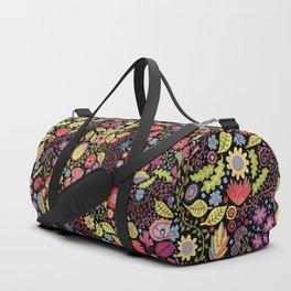 Happy Floral Black Duffle Bag