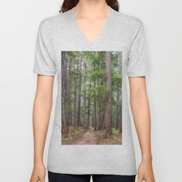 Forest Trail, Pacific Northwest, Washington State Unisex V-Neck