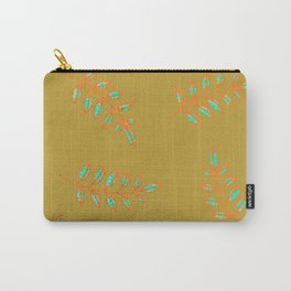 Peanut Butter Leaf Print in speckled gold, orange, teal blue Carry-All Pouch