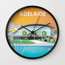 Adelaide, Australia - Skyline Illustration by Loose Petals Wall Clock