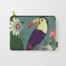 Toucan and Passion Flowers Carry-All Pouch