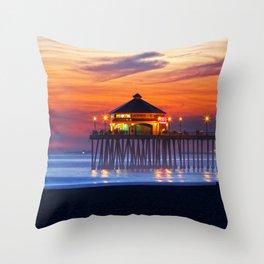 Ruby's Diner Sunset ~ Huntington Beach Pier CA  1/18/14 Throw Pillow