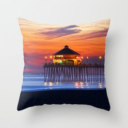 Ruby's Diner Sunset ~ Huntington Beach Pier CA  1/18/14 Throw Pillow