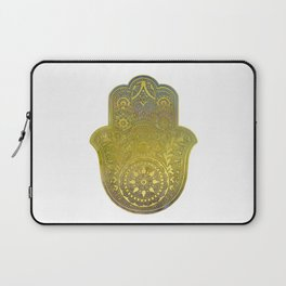 Colorful Watercolor And Gold Hamsa Hand - II Laptop Sleeve