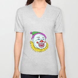 Vintage Circus Clown Smiling Drawing Unisex V-Neck