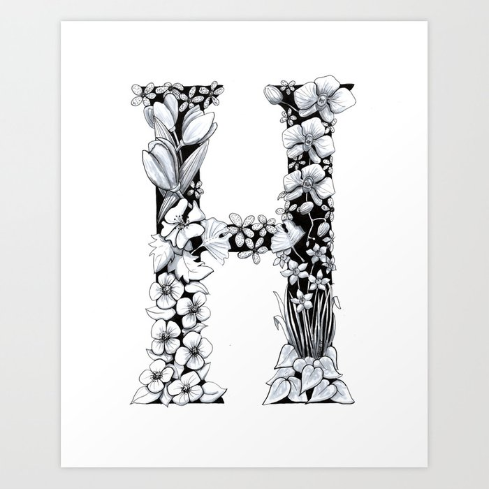 H Letter Images.Floral Pen And Ink Letter H Art Print By Penandposy