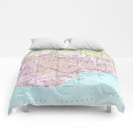 Vintage Map of Santa Barbara California (1952) Comforters