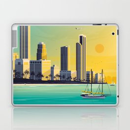 Gold Coast Queensland Australia - Travel Poster City Illustration Laptop & iPad Skin