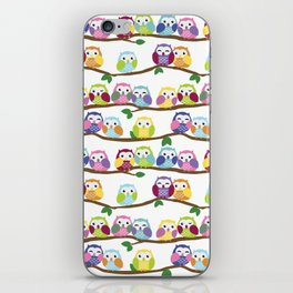 Colorful Owls On Branches iPhone Skin