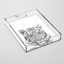 Black and white tiger Acrylic Tray