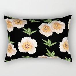Peonies Flower Pattern on Black #1 #floral #decor #art #society6 Rectangular Pillow