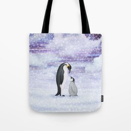 emperor penguins in the snow Tote Bag