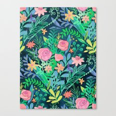 Roses + Green Messy Floral Posie Canvas Print