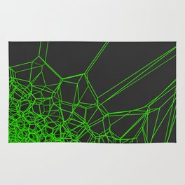 Green voronoi lattice on black background Rug