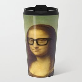 Hipster Mona Lisa in her Hipster Glasses Metal Travel Mug