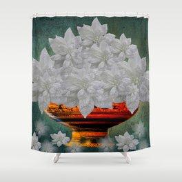 WHITE POINSETTIAS IN A BOWL Shower Curtain