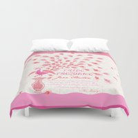 pride and prejudice Duvet Covers featuring Paisley Peacock Pride and Prejudice: Girly by DoodleHeadDee