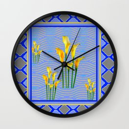 Shades of Blue Yellow Calla Lily Art Wall Clock