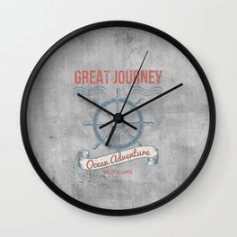 Maritime Design- Great Journey Ocean Adventure on gray abstract background Wall Clock